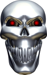 3D Chrome Skull Decal / Sticker 06