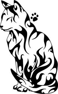 Tribal Cat Decal / Sticker 01