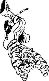 Tigers Football Mascot Decal / Sticker 06