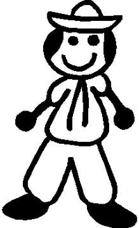 Hat Guy Stick Figure Decal / Sticker
