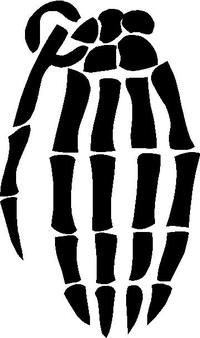 Skull Hand Grenade Gloves Decal / Sticker