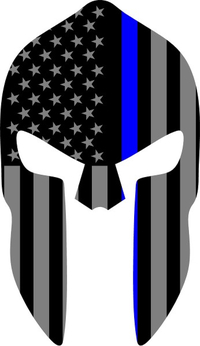 Thin Blue Line American Flag Spartan Helmet Decal / Sticker 03
