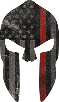 Thin Red Line American Flag Spartan Helmet Decal / Sticker 06