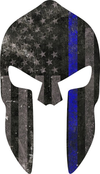 Thin Blue Line American Flag Spartan Helmet Decal / Sticker 07