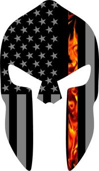 Thin Red Line American Flag True Fire Spartan Helmet Decal / Sticker 08