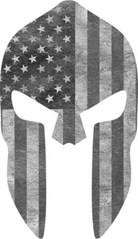 Black and White American Flag Spartan Helmet Decal / Sticker 10