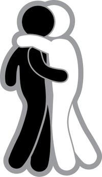 Black Man and White Man Hugging Decal / Sticker 02