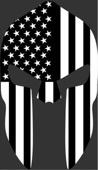 Black and White American Flag Spartan Helmet Decal / Sticker 11