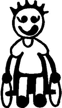 Wheelchair Boy Stick Figure Decal / Sticker 01