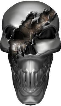 Ripped Metal Skull 02 Decal / Sticker