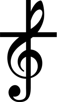 Treble Clef Cross Decal / Sticker 97