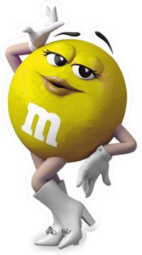Yellow Female M&M Decal / Sticker 65