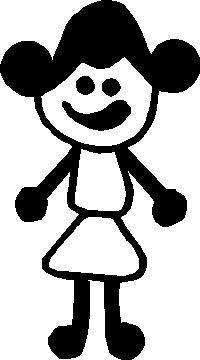 Girl Stick Figure Decal / Sticker 07