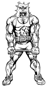 Weightlifting Bulldog Mascot Decal / Sticker 8