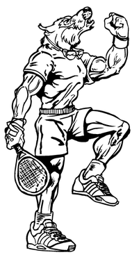 Wolves Tennis Mascot Decal / Sticker