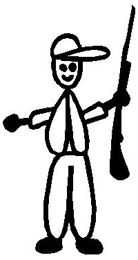 Hunter 02 Stick Figure Decal / Sticker
