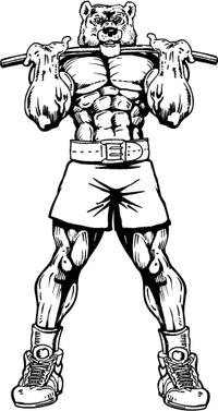 Weightlifting Bear Mascot Decal / Sticker 01