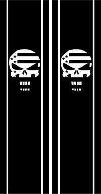 American Flag Punisher Truck Bed Stripes Decals / Stickers 03