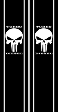 Punisher Turbo Diesel Truck Bed Stripes Decals / Stickers 12