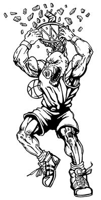 Basketball Razorbacks Mascots Decal / Sticker 4