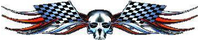 Red Checkered Flag Skull Tribal Decal / Sticker Q2