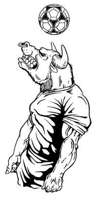 Soccer Bull Mascot Decal / Sticker 2