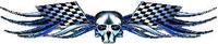 Blue Checkered Flag Skull Tribal Decal / Sticker Q3