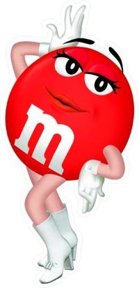 Red Female M&M Decal / Sticker 39
