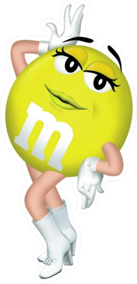 Yellow Female M&M Decal / Sticker 38