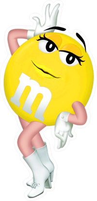 Yellow Female M&M Decal / Sticker 66