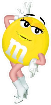 Yellow Female M&M Decal / Sticker 66