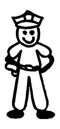 Police Man Stick Figure Decal / Sticker 03