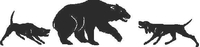 Bayed Dogs with Bear Decal / Sticker 06