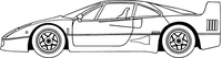 Ferrari F40 Outline Decal / Sticker a