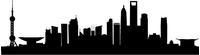 Shanghai Skyline Silhouette Decal / Sticker 01