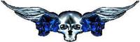 Blue Winged Skulls Decal / Sticker J3