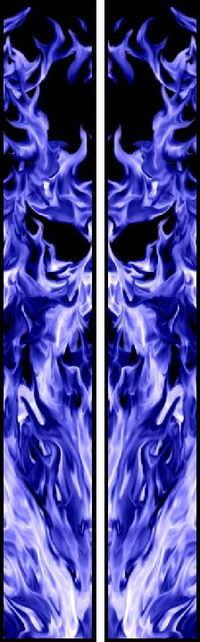 z 10 Inch Dual Blue True Fire Racing Stripe Decal / Sticker