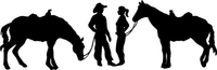 Cowboy and Cowgirl with Horses Decal / Sticker