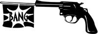 Gun with Bang Flag Decal / Sticker 02