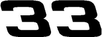 33 Race Number Hemihead Font Decal / Sticker31 Race Number Hemihead Font Decal / Sticker