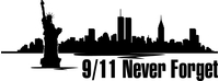 New York Skyline Silhouette 9/11 Never Forget Decal / Sticker 02