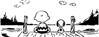 Charlie Brown and Snoopy on a Dock Decal / Sticker 02