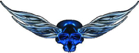 Blue Winged Skull Decal / Sticker