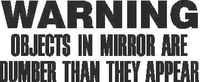Warning Objects in Mirror are Dumber Than They Appear Decal / Sticker