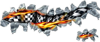 Flaming Checkered Flag Tear Decal / Sticker