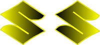 Black to Yellow Fade Suzuki Logo Pair Decals / Stickers