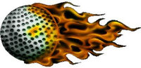Flaming golf ball decal / sticker
