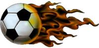 Flaming Soccer ball decal / sticker