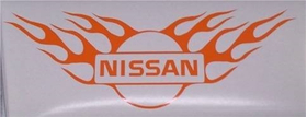 Flaming Nissan Logo Decal / Sticker (angle up style)