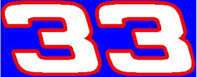 33 Race Number 2 Color Hemihead Font Decal / Sticker